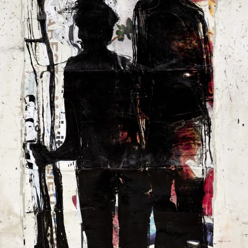Jean Charles Blais, dOcteuR de SotO, 2021, Peinture à l'huile et craie sur affiches arrachées, 187 x 126 cm. Courtesy de l'artiste et de la galerie Catherine Issert. © François Fernandez.