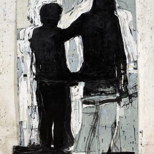 Jean Charles BLAIS, début (8 12 20), 2020, Peinture à l'huile sur affiche arrachées, 178 x 126 cm. Courtesy de l'artiste et de la galerie Catherine Issert. © François Fernandez.
