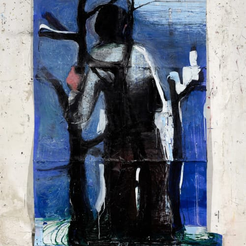 Jean Charles BLAIS, sombrage, 2021, Peinture à l'huile sur affiche arrachées, 171 x 120 cm. Courtesy de l'artiste et de la galerie Catherine Issert. © François Fernandez.