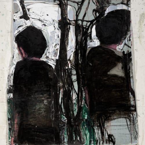 Jean Charles BLAIS, inextricable, 2021, Peinture à l'huile sur affiche arrachées, 106 x 87 cm. Courtesy de l'artiste et de la galerie Catherine Issert. © François Fernandez.