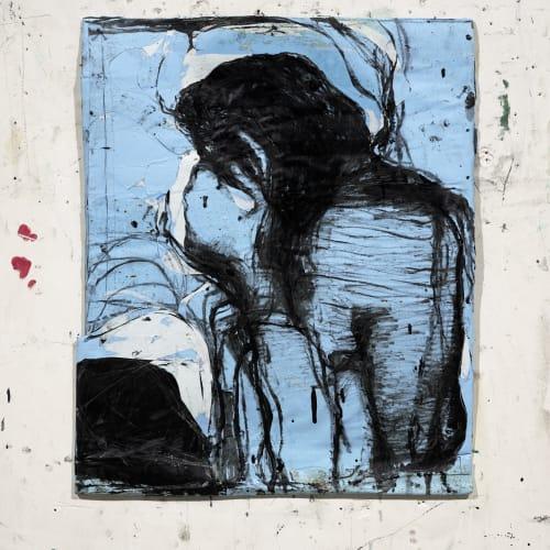 Jean Charles BLAIS, fin, 2021, Peinture à l'huile sur affiche arrachées, 66 x 64 cm. Courtesy de l'artiste et de la galerie Catherine Issert. © François Fernandez.