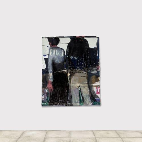 Jean Charles BLAIS, enfin, 2021, Peinture à l'huile et craie sur affiches arrachées, 157 x 133 cm. © François Fernandez