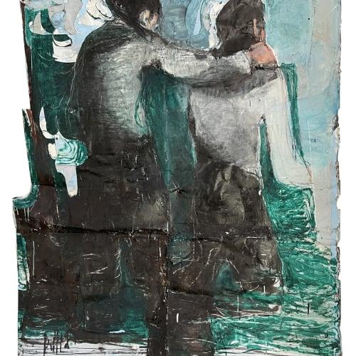 Jean Charles BLAIS, Sans titre, 2021, Huile sur affiche arrachées, 150 x 130 cm. Courtesy de l'artiste et de la galerie Catherine Issert