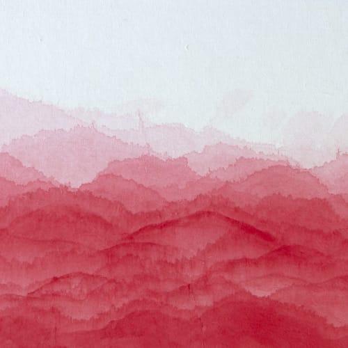Minjung KIM, Red mountain , 2021, Encre et aquarelle sur papier Hanji, 36 x 48 cm. Courtesy de l'artiste et de la galerie Catherine Issert.
