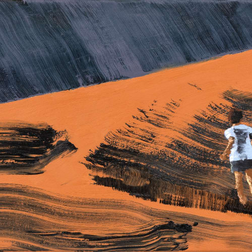 Marine WALLON, Ochra, 2021, Huile sur toile, 40 x 55 cm. Courtesy de l'artiste et de la galerie Catherine Issert