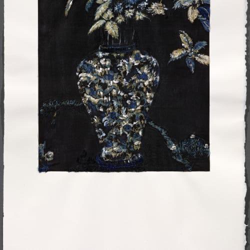Pascal PINAUD, Sans titre, Juin 2019, Acrylique sur tissu Japon sur papier Arches, 59,5 x 42 x 3,5 cm. Courtesy de l'artiste et de la galerie Catherine Issert