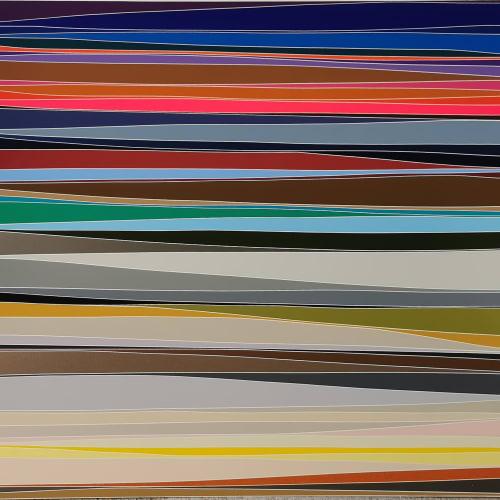 Xavier THEUNIS, Sans titre (Paysage #139), Adhésif verni sur aluminium thermolaqué, cadre inox, 64,5 x 74,5 x 3,5 cm. Courtesy de l'artiste et de la galerie Catherine Issert