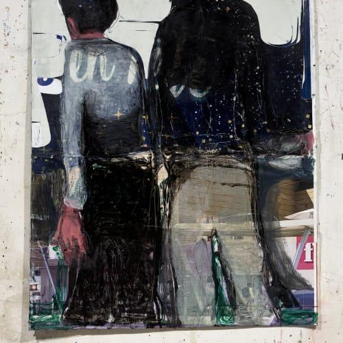 Jean Charles BLAIS, enfin, 2021, Peinture à l'huile sur affiches arrachées, 157 x 133 cm. Courtesy de l'artiste et de la galerie Catherine Issert. © François Fernandez.