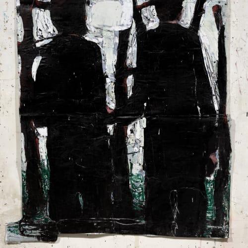 Jean Charles BLAIS, singing (28 2 21), 2021, Peinture à l'huile sur affiches arrachées, 168 x 142 cm. Courtesy de l'artiste et de la galerie Catherine Issert. © François Fernandez.