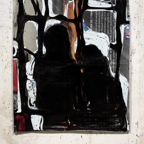 Jean Charles BLAIS, sans titre (12 3 21), 2021, Peinture à l'huile sur affiches arrachées,145 x 127 cm. Courtesy de l'artiste et de la galerie Catherine Issert. © François Fernandez.
