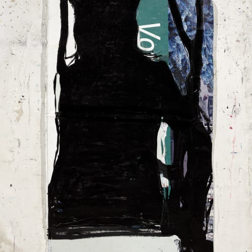 Jean Charles BLAIS, encore (12 4 21), 2021, Peinture à l'huile sur affiches arrachées, 168 x 90 cm. Courtesy de l'artiste et de la galerie Catherine Issert. © François Fernandez.