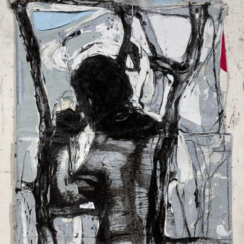 Jean Charles BLAIS, degalévy, 2021, Peinture à l'huile sur affiches arrachées, 127 x 108 cm. Courtesy de l'artiste et de la galerie Catherine Issert. © François Fernandez.