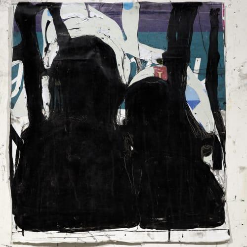 Jean Charles BLAIS, encore (27 11 20), 2020, Peinture à l'huile sur affiches arrachées, 75 x 68 cm. Courtesy de l'artiste et de la galerie Catherine Issert. © François Fernandez.