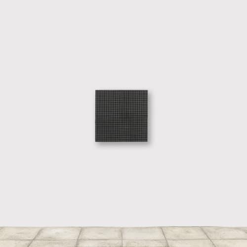 François MORELLET 2 doubles trames de grillage - 1° + 1° (#25 mm) 1973 Grillage sur bois 60 x 60 cm Courtesy de l'artiste et de la galerie Catherine Issert