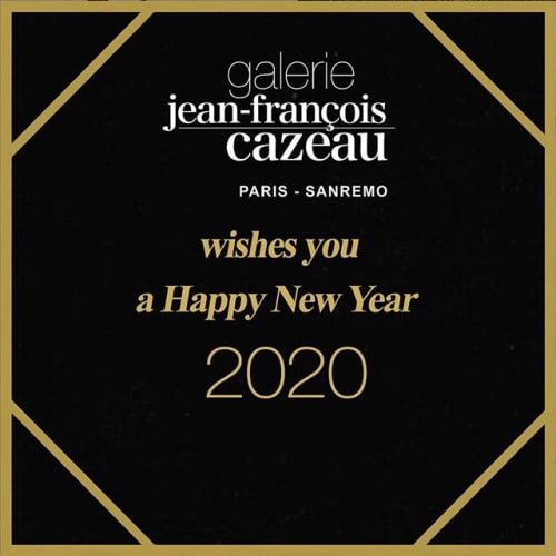 Image may contain: text that says 'galerie jean-françois cazeau PARIS SANREMO wishes you a Happy New Year 2020'