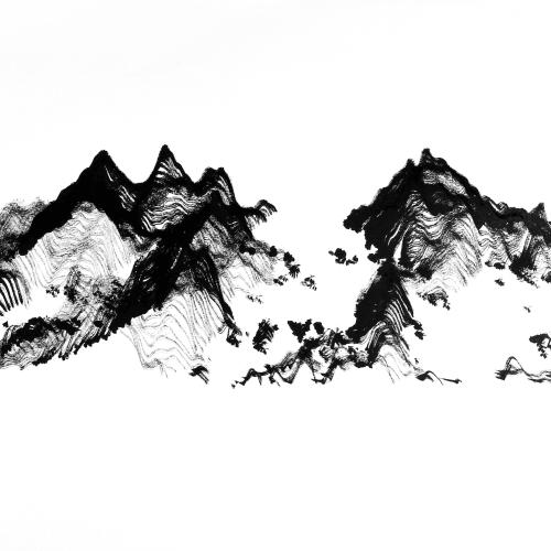 Victor Wong x A.I. Gemini, Escapism 0003, 2018, Artificial intelligence, ink on paper, 46 cm x 118 cm 黃宏達 x A.I. Gemini,《逸0003》,2018,人工智能、水墨紙本,46 x 118 cm