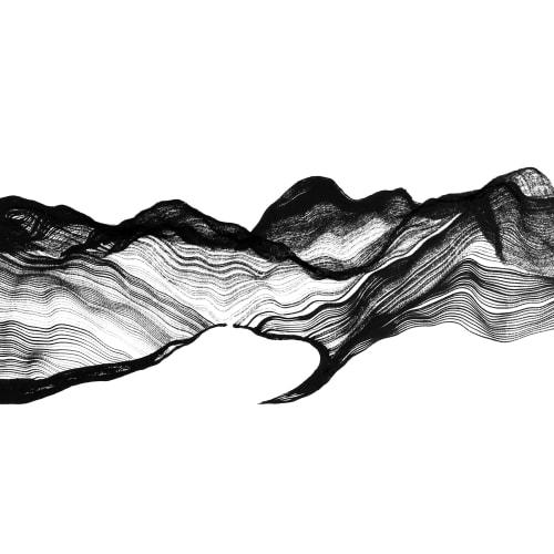 Victor Wong x A.I. Gemini, Escapism 0010, 2018, Artificial intelligence, ink on paper, 46 cm x 118 cm 黃宏達 x A.I. Gemini,《逸0010》,2018,人工智能、水墨紙本, 46 x 118 cm