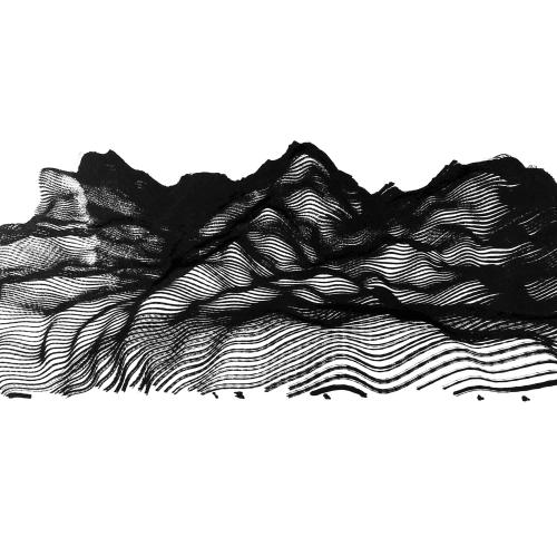 Victor Wong x A.I. Gemini, Escapism 0012, 2018, Artificial intelligence, ink on paper, 46 cm x 118 cm 黃宏達 x A.I. Gemini,《逸0012》,2018,人工智能、水墨紙本, 46 x 118 cm