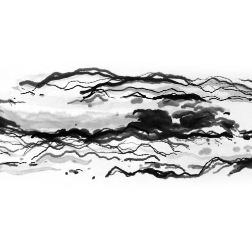 Victor Wong x A.I. Gemini, Escapism 0023, 2018, Artificial intelligence, ink on paper, 46 x 118 cm 黃宏達 x A.I. Gemini,《逸0023》,2018,人工智能、水墨紙本, 46 x 118 cm