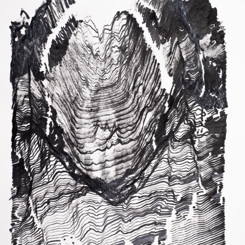Victor Wong x A.I. Gemini, Far Side of the Moon 0008, 2019, A.I. Ink on Paper, 89 x 62 cm 黃宏達 x A.I. Gemini,《月球背面 0008》,2019,人工智能、水墨紙本,89 x 62 cm