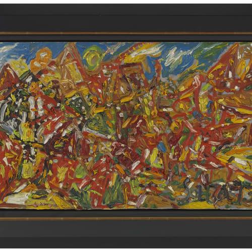 Francis Newton Souza (1924 - 2002) Untitled, (Landscape) 1973 Oil on board 37.8 x 67.6cm. (14 7/8 x 26 5/8...