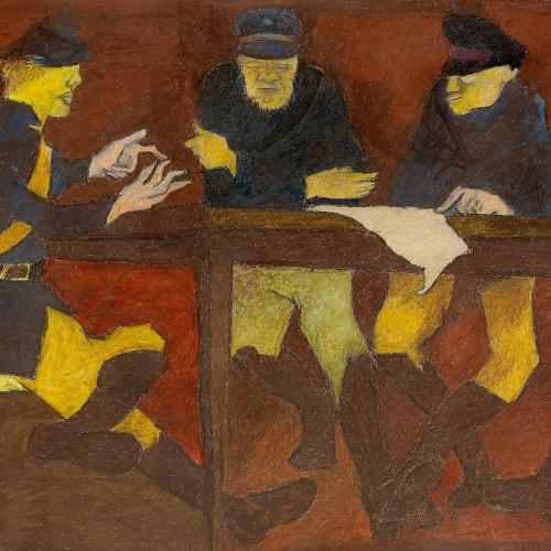 Krishen Khanna (b. 1925) Game 1, c. 1970s Oil pastel on paper 45.1 x 62.5cm. (17 ¾ x 24 ½...