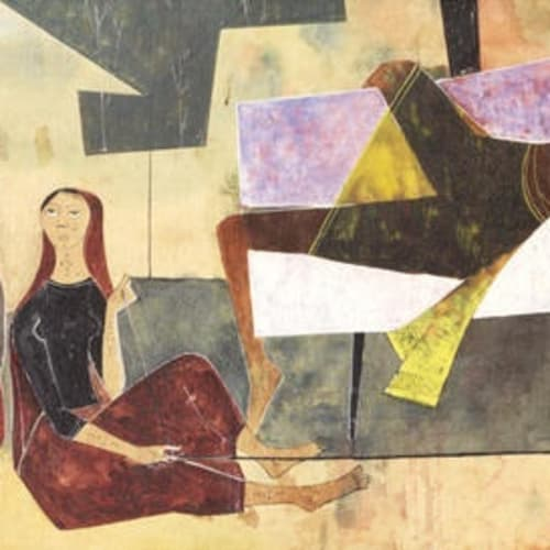 Shanti Dave (b.1931) Mother and Child, 1959 Oil on board 26 x 61cm. (10 ¼ x 24in.)