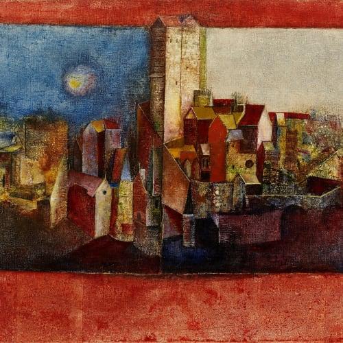 Sadanand K. Bakre (1920-2007) Untitled, (Landscape), 1965 Oil on canvas 56 x 102cm. (22 x 40 1/8in.)