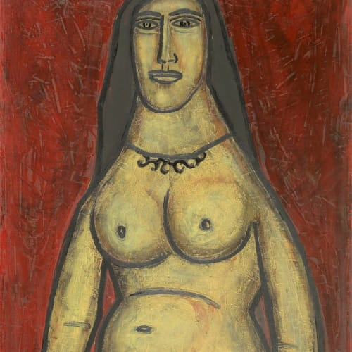 Francis Newton Souza (1924 - 2002) Nude on Red Background, 1956 Oil on board 101.5 x 61cm. (40 x 24in.)
