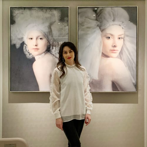 Artworks 'That is Her' and 'Her' hanging in the serene and luxurious atmosphere of the Spa in The Four Seasons Hotel George V in Paris.