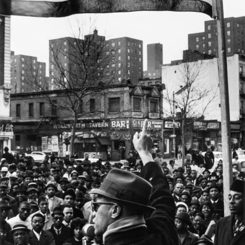 Gordon Parks, Malcolm X Gives Speech at Rally, Harlem, New York, New York, 1963 ©The Gordon Parks Foundation. Used with permission.