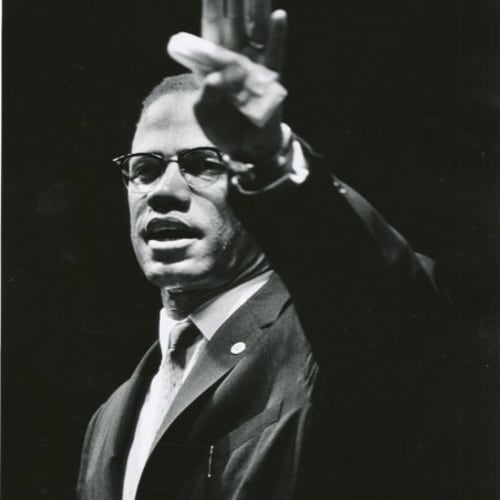Gordon Parks, Malcolm X at Rally, Chicago, Illinois, 1963 ©The Gordon Parks Foundation. Used with permission.