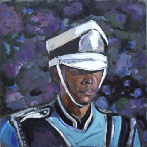 ENRICO RILEY Untitled: Drummer, Keeper of The Moon, 2021Oil and watercolor on canvas