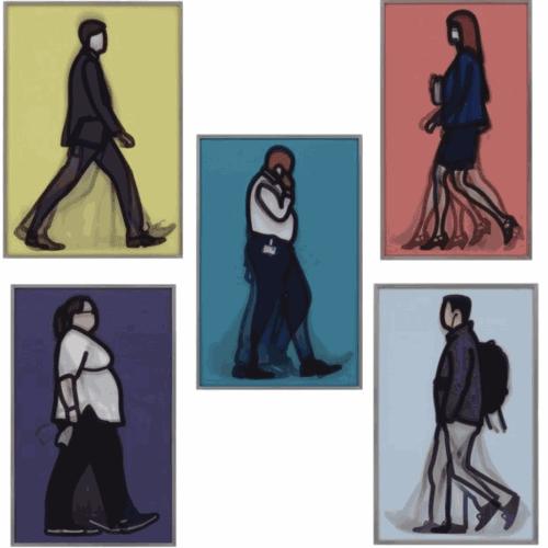 JULIAN OPIE Walking in London I, 2013Set of lenticular prints