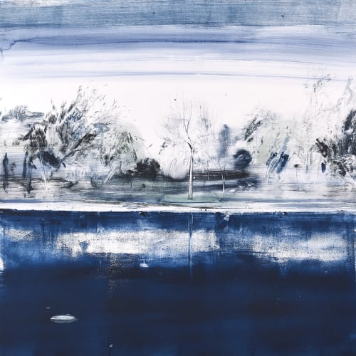 Calum McClure (b. 1987) Distinctive Tree, Queen's Park, 2018, Monotype, 92 x 92 cm. The judging panel were impressed by the variety of the mark-making and atmospheric effects created through the use of light, shadow and reflection in this monotype. Shortlisted artist, Jerwood Printmaking Today 2020 nominated by Glasgow Print Studio