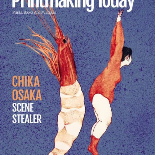 The cover of the Autumn Issue of Printmaking Today, 2019, featuring Chika Osaka, winner of the Jerwood Printmaking Today Prize 2019.