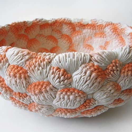 Hitomi Hosono (b. 1976), A Large Orange Coral Bowl, Jerwood Makers Open, 2014. Installation shot, Jerwood Space. Photo courtesy the artist.