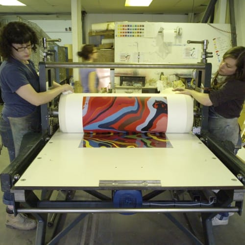 Working in the Print Studio, 2011. Image courtesy of Ian Davenport Studio