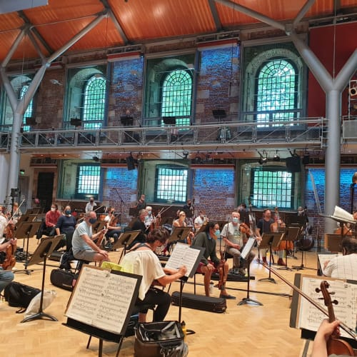 LSO in a socially-distanced concert rehearsal in Jerwood Hall, LSO St Luke's on 10th July. Photo: Maxine Kwok, First Violin, LSO.