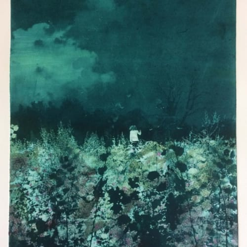 Nick Archer (b. 1963) Last Light, 2018. Hand Coloured Solar Plate Etching, Edition of 10. Nick's journey as a printmaker began in 2018. The judging panel were struck by his experimentation with a traditional technique and the depth he created through the medium.