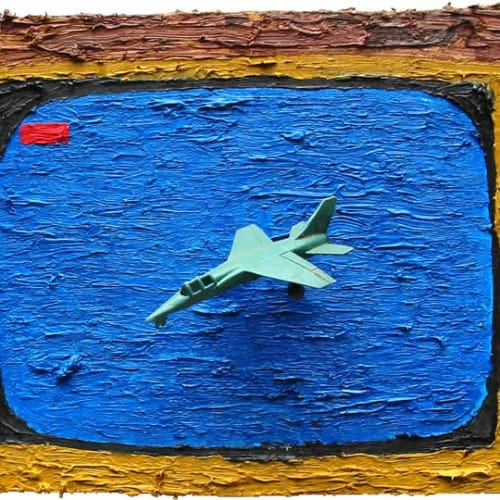 Ch. 4: Soft Focus Snuff, 2001, Oil on MDF, wire & plastic jet fighter, 29 x 44 x 7cm, 2001, Various c. 29 x 44 x 7cm, 2001