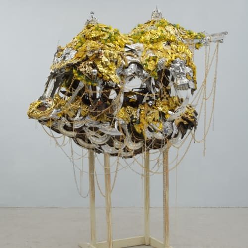 Hew Locke Golden Horde 5, 2006 Mixed media, Including plastic, metal, textile and wood 203 x 182 x 104 cm 79 7/8 x 71 5/8 x 41 in