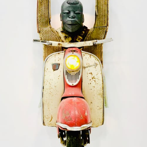 Zak Ové Hands Up, 2019 1960s Lambretta scooter, cast graphite, hand made glass African beads, LED lighting and electrical transformer. 140 x 60 x 70 cm 55 1/8 x 23 5/8 x 27 1/2 in