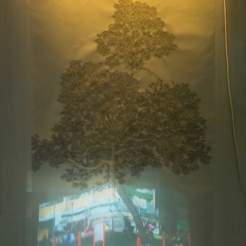 Chai Wan Park 2015 Ink on silk, fluorescent tube and colour video with sound 191 x 93 cm, 4 minutes...