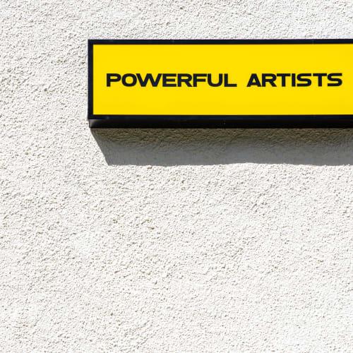 Miriam Laura Leonardi Powerful Artists, 2021 Flickering Lightbox (Plexiglas, neon tubes, metal, vinyl, arduino, electric cables)