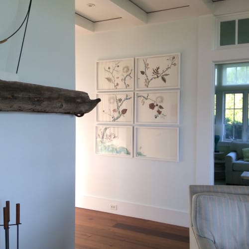"""Marilla Palmer """"Sweet Pea and Blue Persimmon"""" 6 part mixed media collage at Kathryn's home in Sagaponack"""