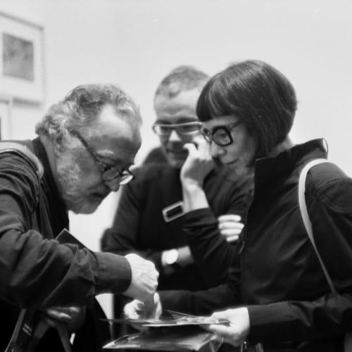 Artist Pentti Sammallahti with duo Albarran Cabrera, Paris Photo 2017.