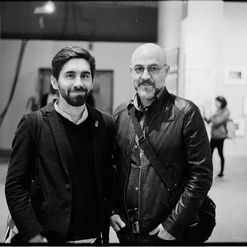 Douglas Marshall with artist Jakob de Boer, AIPAD Photography Show 2019. Credit Josh Huval.