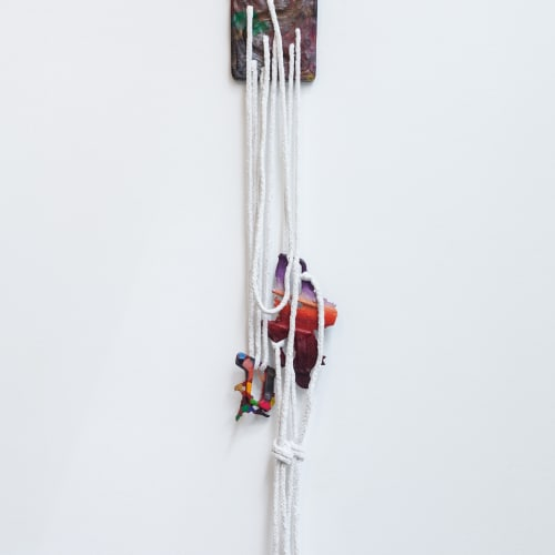 Katy Cowan, (this rest) Variation (2018). Oil and enamel paint, graphite on cast bronze, braided rope, 72 x 10 x...