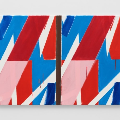 Bernard Piffaretti, Untitled, 2019. Acrylic on canvas, 25 1/2 x 36 1/8 x 7/8 inches. Courtesy the artist and Lisson...